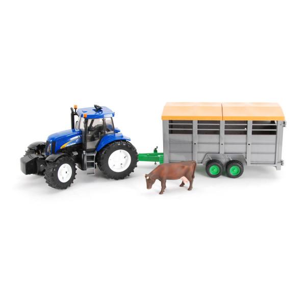 Трактор Bruder New Holland T8040 с прицепом для перевозки крупного рогатого скота, с коровой в комплекте