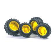 Аксессуары A: Шины для системы сдвоенных колёс с жёлтыми дисками 4шт.SUPER PRO Bruder