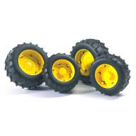 Аксессуары Bruder A: Шины для системы сдвоенных колёс с жёлтыми дисками 4шт.