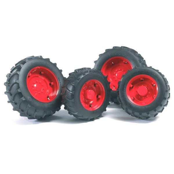 Аксессуары Bruder A: Шины для системы сдвоенных колёс с красными дисками 4шт.