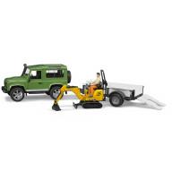 Внедорожник Bruder Land Rover Defender c прицепом-платформой, гусеничным мини экскаватором 8010 CTS и рабоч