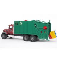 Мусоровоз Bruder MACK (зелёный фургон, красная кабина)