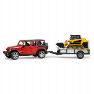 Внедорожник Bruder Jeep Wrangler Unlimited Rubicon c прицепом-платформой и колёсным мини погрузчиком CAT