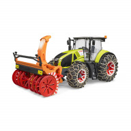 Трактор Bruder Claas Axion 950 c цепями и снегоочистителем