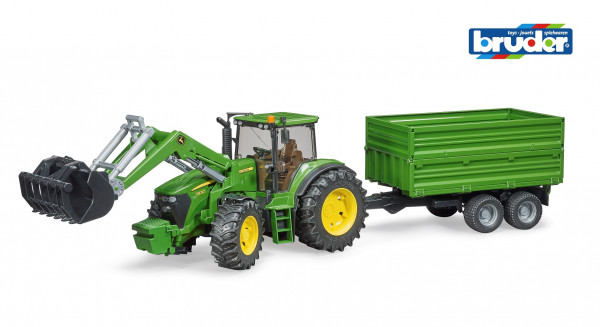 Трактор Bruder John Deere 7930 с погрузчиком и прицепом