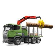 """Лесовоз Bruder Scania с портативным краном и брёвнами (подходит модуль со звуком и светом """"H"""")"""