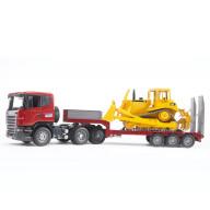 Тягач с прицепом–платформой Bruder Scania с гусеничным бульдозером CAT (подходит модуль)