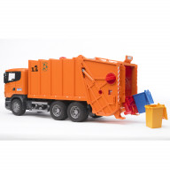 """Мусоровоз Bruder Scania (цвет оранжевый) (подходит модуль со звуком и светом """"H"""")"""