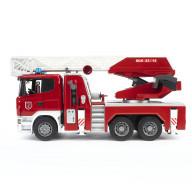 Пожарная машина Bruder Scania с выдвижной лестницей и помпой с модулем со световыми и звуковыми эффектами