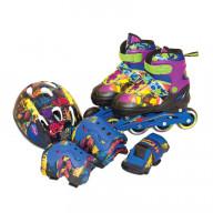 Набор роликовые коньки + защита TMNT, размер 30-33