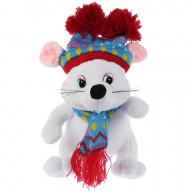 Игрушка мягкая Мышка белая в шапке с двумя помпонами 15см, музыкальная, Мульти-пульти