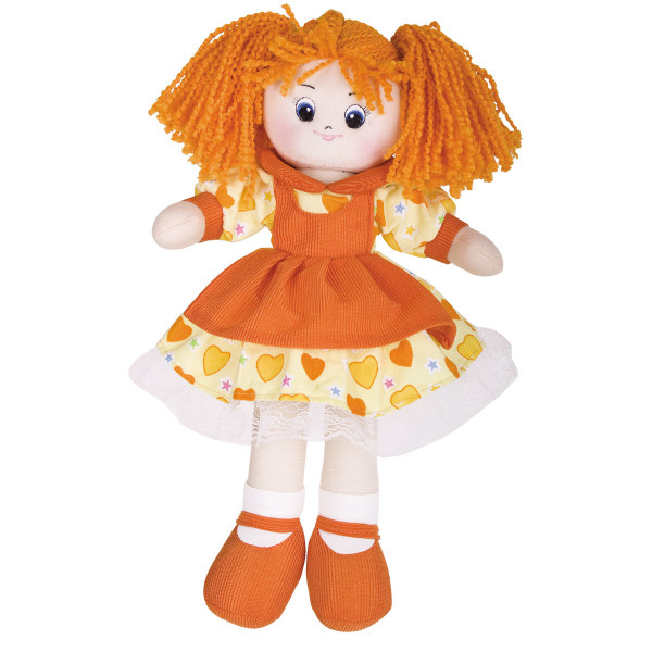 Мягкая кукла Gulliver Апельсинка в платье с сердечками, 40 см