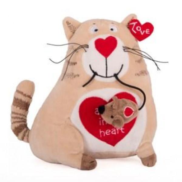 Мягкая игрушка Gulliver Кот и мышь «Любовь с первого взгляда», 20 см
