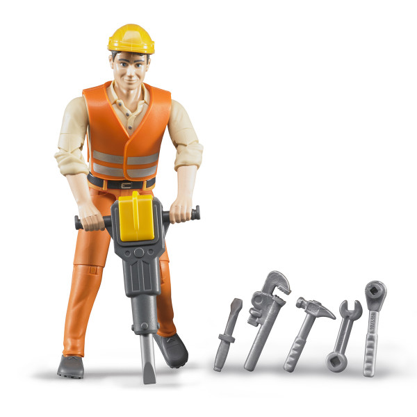 Фигурка Bruder строителя с аксессуарами