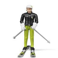Фигурка Bruder лыжника с аксессуарами