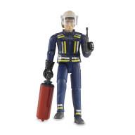 Фигурка Bruder пожарного 107 мм с огнетушителем и рацией