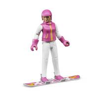 Фигурка Bruder сноубордистки с аксессуарами