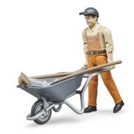 Фигурка Bruder работника коммунальной службы с тележкой и аксессуарами