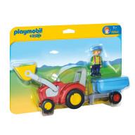 Конструктор Playmobil 1.2.3.: Трактор с прицепом