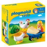 Конструктор Playmobil 1.2.3.: Жена фермера с курочками