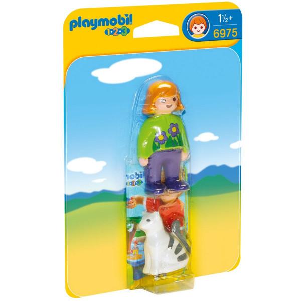 Конструктор Playmobil 1.2.3.: Женщина с кошкой