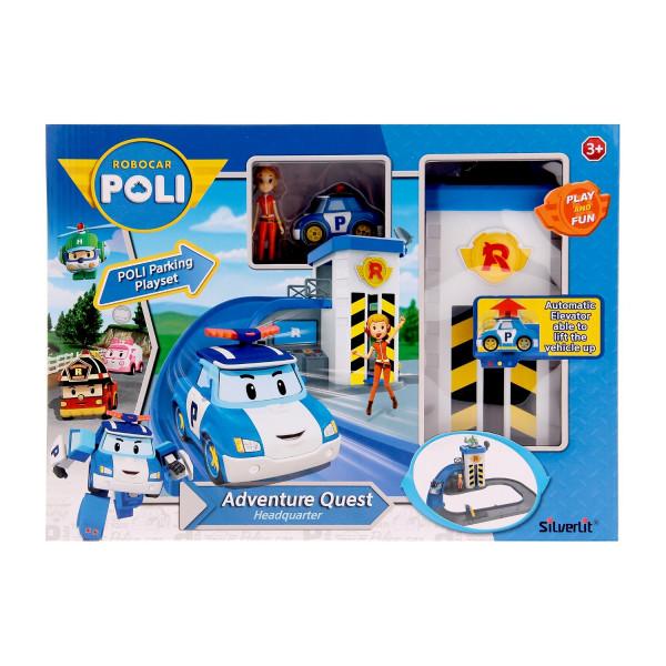 Набор Robocar Poli Подъемник с металлической машинкой Поли и фигуркой Джин