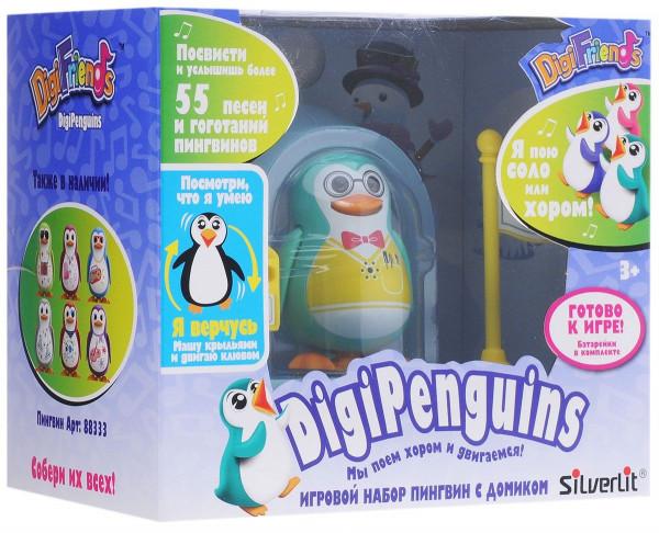 Пингвин в домике, голубой