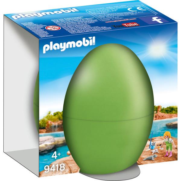 Конструктор Playmobil Пасхальное яйцо: Смотритель зоопарка с детенышами тюленя