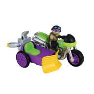 Фигурка Черепашки-ниндзя Донни 6 см с мотоциклом, серия Half Shell Hero