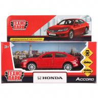 """Машина металл """"HONDA ACCORD"""", длина 12см, открываются двери, инерция, красный,Технопарк"""