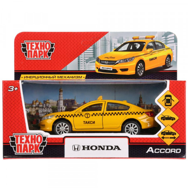 """Машина металлическая """"HONDA ACCORD ТАКСИ"""", длина 12см, открываются двери, инерция, Технопарк"""
