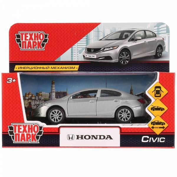 """Машина металлическая """"HONDA CIVIC"""" 12см, открываются двери, инерция, серебристый, Технопарк"""