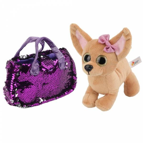 """Мягкая игрушка собака чихуахуа 19 см в сумочке из пайеток ТМ """"ИГРАЕМ ВМЕСТЕ""""."""
