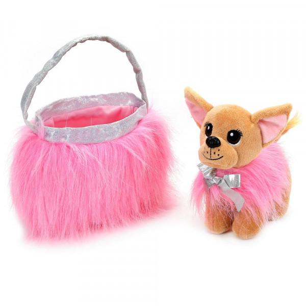"""Мягкая игрушка собака чихуахуа 19см в розовой сумочке, в пак. (русс. уп.) """"Мой питомец"""""""
