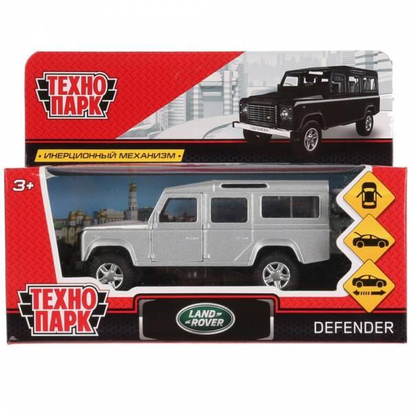 Машина металл LAND ROVER DEFENDER 12см, открываются двери, инерция, серебристый.Технопарк