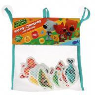 Игрушка для ванны Капитошка Мимимишки набор стикеров ЕВА 12 шт., сумочка сетка
