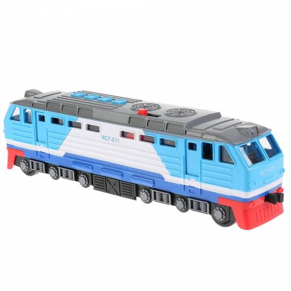 Машина локомотив, 30 см, пластик, 4 кнопки, инерционная, синий Технопарк