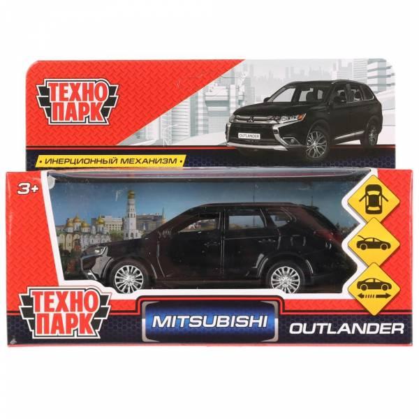 """Машина металлическая """"MITSUBISHI OUTLANDER"""" 12см, открываются двери, инерционная, черный, Технопарк"""