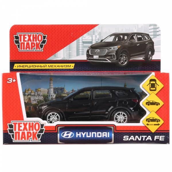 """Машина металлическая """"HYUNDAI SANTAFE"""" 12см, открываются двери, инерция, черный цвет, Технопарк"""