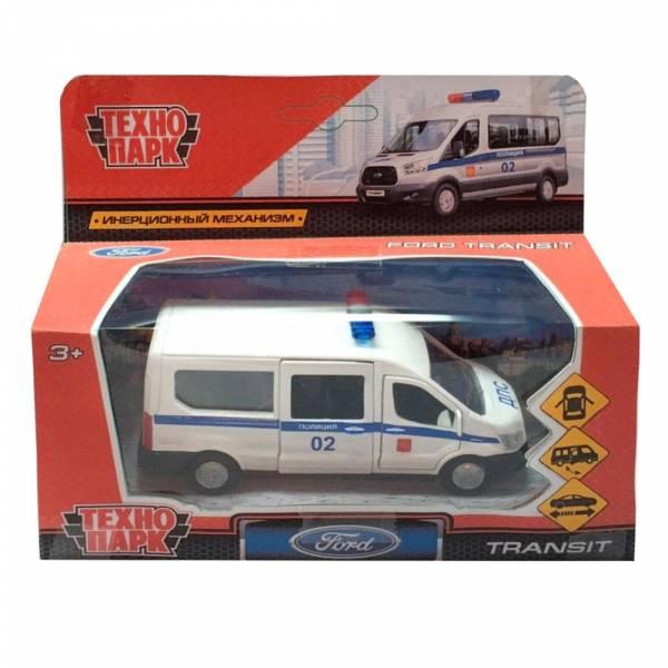 Машина металлическая FORD Transit полиция 12см, открываются двери, инерция, Технопарк