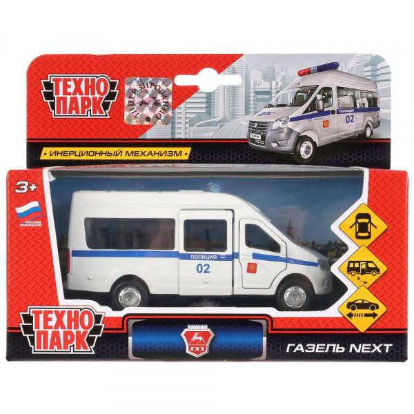 Машина металлическая ГАЗ Газель NEXT полиция 12см, открываются двери, инерция, Технопарк