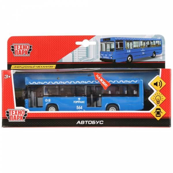 Машина металлическая Автобус 17см, свет+звук, открываются двери, инерция,Технопарк