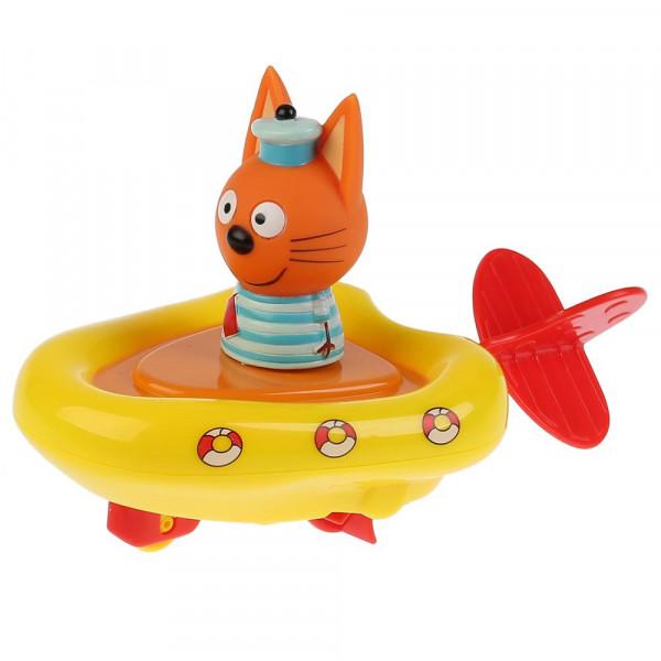 Игрушка пластизоль д/ванны Капитошка Три кота, Лодка+Коржик выс.6см, блистер