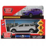 Машина металлическая LADA VESTA SW CROSS, длина 12 см, открываются двери, багаж, инерционная, Технопарк