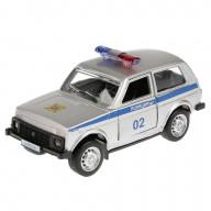 Машина металл ЛАДА 4х4, полиция 9см, инерционная, открыв. двери 6400B Технопарк
